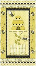 Bee Feliz Panel de algodón acolchado Tela - 60 Cm X 110 Cm-Henry De Vidrio