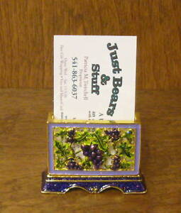 Pewter Business Card Holder #H245 GRAPES, New/Box From Retail Store by Welforth