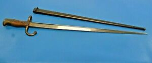 Antique French M. 1874 Gras Bayonet + Sheath Tulle Armory 1884   #3978 Matching