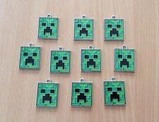 10 X Minecraft Creeper Metal Enamel Charms Pendants Random Jewellery Craft