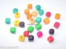 30 perle legno forma Cubo 10mm mix vari colori