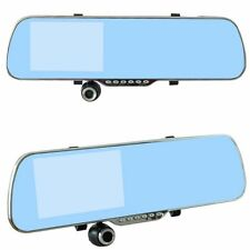 5'' Led Display Car Dvr Dual Lens Recorder Cam Rearview Mirror Motion Detection
