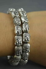 Collectible Handwork Old Miao Silver Carve Kuan-Yin Head Auspicious Bracelet