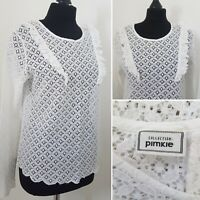 Ladies WHITE LACE Top Sz M 12/14 Cut Out Summer Holiday Ruffle Retro PIMKIE