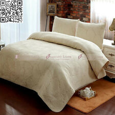 Cotton Beige Quilted Bedspread Set Queen King Size Coverlet Bed With Pillowcases