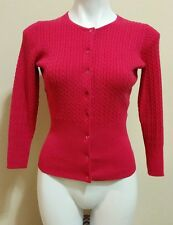 The Limited Pink Crewneck Button Long Sleeve Cable Knit Sweater Cardigan Size S