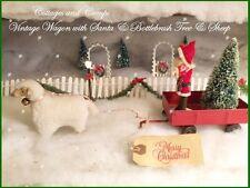 Adorable Vtg Metal Wagon Putz Sheep Santa Xmas Bottlebrush Tree Primitive Style