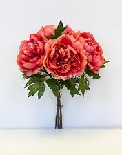 Sweet Home Deco 15'' Silk Blooming Peony Flower Bush in Beautiful Colors