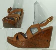 Miu Miu Tan Leather Criss-Cross Buckle Wedges Shoes Size 36
