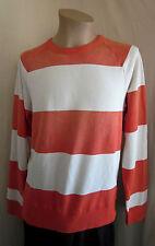 J CREW Vintage Fleece Orange Ivory Long Sleeve Color Block Sweatshirt L Large