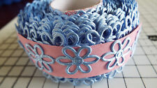 2m -Blue, Daisy Flower Motif - Applique, Trimmings,Wedding, Satin Lace Ribbon