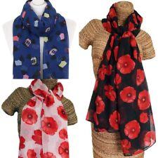 NEW womens Terrier dog Poppy Print Scarf designer Fashion scarves Shawl Wrap UK