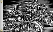 Skull Racers Drag Bike Drag Race Motorcycle Biker Flag or Wall Banner #1067