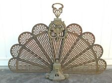 Vtg Brass Peacock Fan Fireplace Screen Ornate foldable collapsible retractable