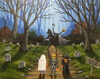 Halloween Sleepy Hollow Headless Horseman Ghost Skeleton Witch Painting Art