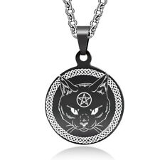 Black Cat Wicca Pendant Necklace Stainless Steel Wiccan