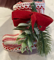 """7 Vintage Santa's Boot Ornaments /Table Decor 3"""" high  Red Ticking"""