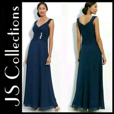 $189 JS Collections Navy Embellish Detail Chiffon Gown w Detach Shawl ~ 6  M3020