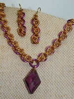 Crystal Pendant on Solid Brass & Anodised Aluminium hand-made Chain Maille set