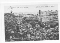 1945 WWII US Okinawa small  Photo boats in drydock at Naha