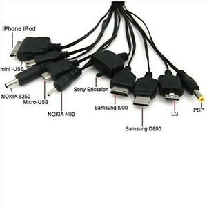Cable 10 in 1 Multifunction USB Mobile Phone Charger Cords Charging Universal