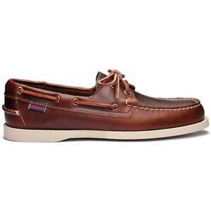 Sebago Docksides Portland Mens Brown Leather Boat Deck Shoes Size 8-12