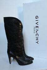 sz 7.5 / 38 Givenchy Black Leather Cap toe python Heel Pull on Tall Boot Shoes