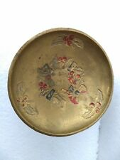 Vintage Brass Fine Inlay Engraved Middle Eastern Round Solid Bowl Rich Patina