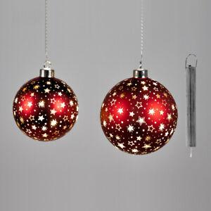Hänger Kugel bordeaux-gold Glas LED-Licht Stern Weihnachtsdeko Dekokugel formano