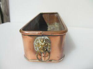 Vintage Copper Trough Tub Planter Plant Pot Antique Old Urn Brass Lion Handles