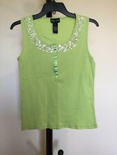 New Women's D.F.A .Scoop Neck Sleeveless Green cotton Sequince Tank Top Size L