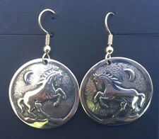 "Western Cowgirl Silver Plated 1"" Disc Rearing Horse Earrings"