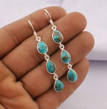 925 Sterling Silver Natural Blue Copper Turquoise Earrings Handmade jewelry