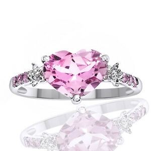 Simulated Pink Sapphire & Natural Diamond Ring Heart Solitaire 18K White Gold