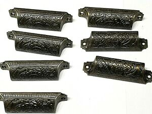7 Ornate Victorian Eastlake Drawer Cast Bin Pulls, Handles