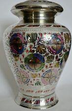 Brass Adult Cremation Urn for Ashes - Madeira Silver & Engraved Floral Design.