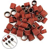 "63pcs 1/2''1/4""3/8""Sanding Bands Sleeves + 3 Mandrels For Rotary Tools Kit"