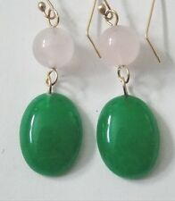 14K Solid Yellow Gold Beautiful handmade PINK ROSE QUARTZ GREEN ONYX  Earrings