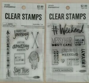 """NEW  (2) Stampabilities Stamp Sets - """"Inspiration"""" 7pc & """"Weekend"""" 9pc"""