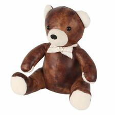 Faux Leather Teddy bear Heavy weight Doorstop Brown & Cream