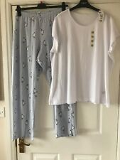 New Marks & Spencer Jersey  Print  Pyjamas Set  Size 24 - 26