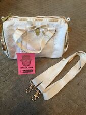 LE SPORTSAC Mini MANOUSH White Eyelet Lace Frill Handbag Purse NWT Gold Trim