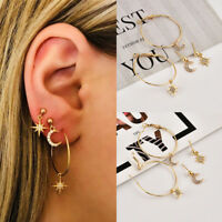 Fashion 4Pcs Cute Moon Star Ear Stud Earrings Women's Gold Plated Jewelry Set