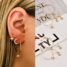 4pcs Circle Star Moon Ear Stud Set Drop Hook Hoop Earrings Set for Women Jewelry