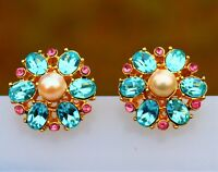 Blue faux aquamarine Swarov 22k gold plated pierced EARRINGS USA by Inga Engele