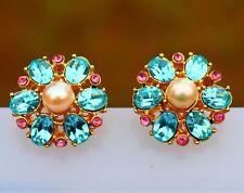 Blue faux aquamarine Swarov 22k gold plated pierced EARRINGS USA by Inga Engele