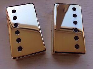 Epi/Gibson Bridge/Neck Position Metal Humbucker Covers 50 & 52mm in Gold Chrome