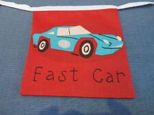 Red Traffic Jam Vehicles Fabric party/play Bedding Bunting  Over 7ft 9 flag