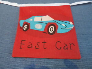 Red Traffic Jam Vehicles Fabric party/play Bedding Bunting  Over 5 flag