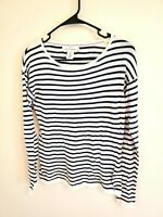 L.O.G.G. H&M Striped Long Sleeve Blue White Sweater size Small S Cotton Modal